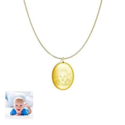 Capture Your Baby Forever on Oval Personalized Jewelry Pendant pendant Gold Plated Sterling Silver No