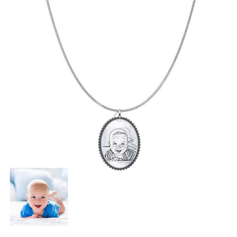 Image of Capture Your Baby Forever on Oval Personalized Jewelry Pendant pendant Silver Plated No