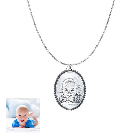 Image of Capture Your Baby Forever on Oval Personalized Jewelry Pendant pendant Sterling Silver 1in No