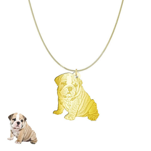 Custom Personalized Pet Silhouette Necklace and Pendant Jewelry pendant Gold Plated Sterling Silver 1in No