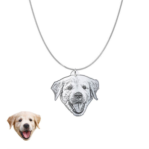 Custom Personalized Pet Silhouette Necklace and Pendant Jewelry pendant Silver Plated No