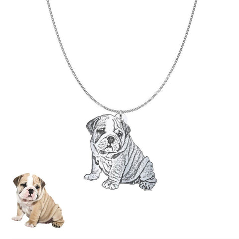 Image of Custom Personalized Pet Silhouette Necklace and Pendant Jewelry pendant Sterling Silver No