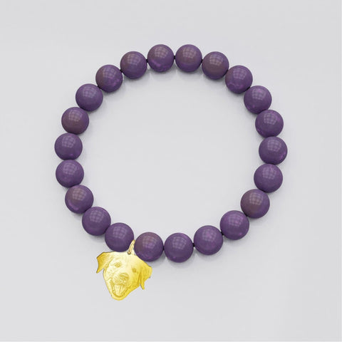 Image of Customized and Personalized Silhouette Charm & Crystal Bracelets bracelet Amethyst Gold Plated Sterling Silver Yes
