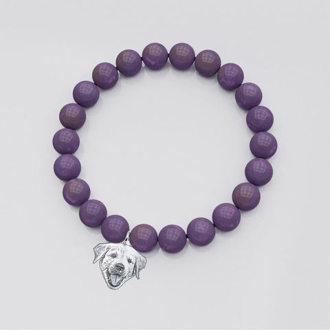 Image of Customized and Personalized Silhouette Charm & Crystal Bracelets bracelet Amethyst Silver Plated No
