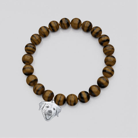 Image of Customized and Personalized Silhouette Charm & Crystal Bracelets bracelet Tiger Eye Sterling Silver Yes