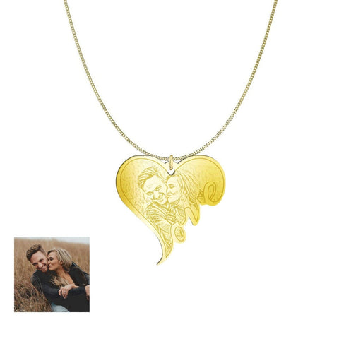Image of Customized and Personlized Love Photo Pendant & Necklace pendant Gold Plated Sterling Silver 1.25in No