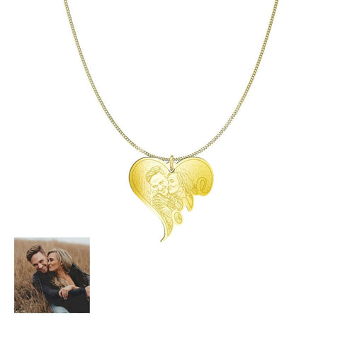 Image of Customized and Personlized Love Photo Pendant & Necklace pendant Gold Plated Sterling Silver Yes
