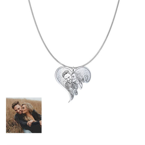 Image of Customized and Personlized Love Photo Pendant & Necklace pendant Silver Plated No