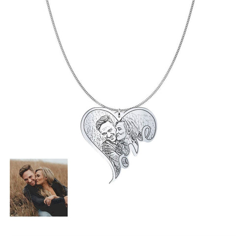 Image of Customized and Personlized Love Photo Pendant & Necklace pendant Sterling Silver 1.25in No