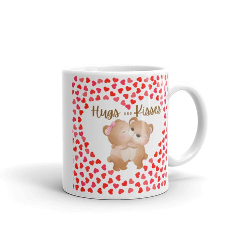 Image of Cute Hugging Bears. Hugs and Kisses. Valentine's Day or Anniversary. Tea or Coffee Mug. Mugs 11oz
