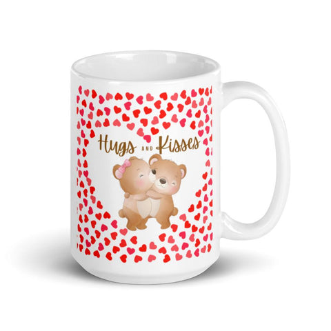Image of Cute Hugging Bears. Hugs and Kisses. Valentine's Day or Anniversary. Tea or Coffee Mug. Mugs 15oz