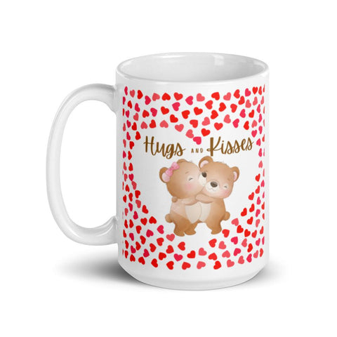Image of Cute Hugging Bears. Hugs and Kisses. Valentine's Day or Anniversary. Tea or Coffee Mug. Mugs