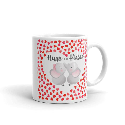 Image of Cute Hugging Elephants. Hugs and Kisses. Valentine's Day or Anniversary. Tea or Coffee Mug. Mugs 11oz