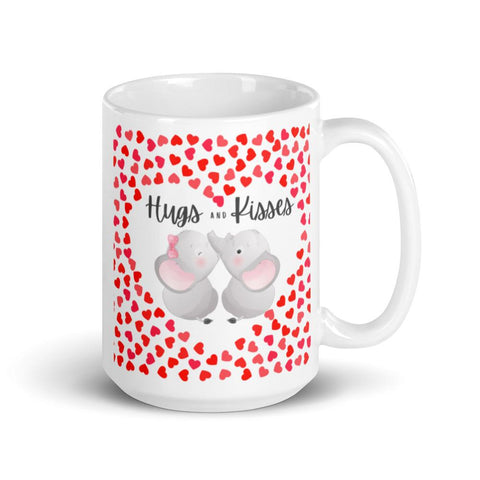 Image of Cute Hugging Elephants. Hugs and Kisses. Valentine's Day or Anniversary. Tea or Coffee Mug. Mugs 15oz