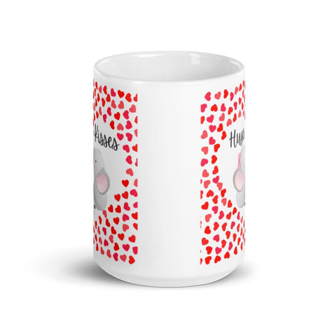 Image of Cute Hugging Elephants. Hugs and Kisses. Valentine's Day or Anniversary. Tea or Coffee Mug. Mugs