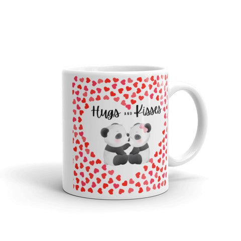 Image of Cute Hugging Pandas. Hugs and Kisses. Valentine's Day or Anniversary. Tea or Coffee Mug. Mugs 11oz