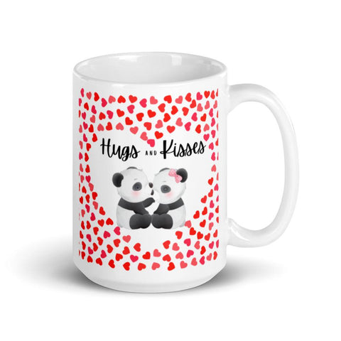 Image of Cute Hugging Pandas. Hugs and Kisses. Valentine's Day or Anniversary. Tea or Coffee Mug. Mugs 15oz