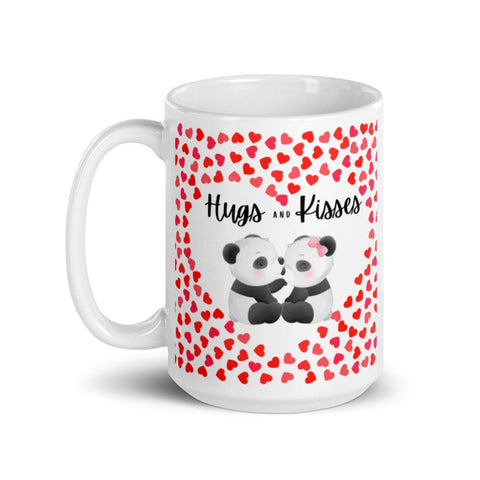 Image of Cute Hugging Pandas. Hugs and Kisses. Valentine's Day or Anniversary. Tea or Coffee Mug. Mugs