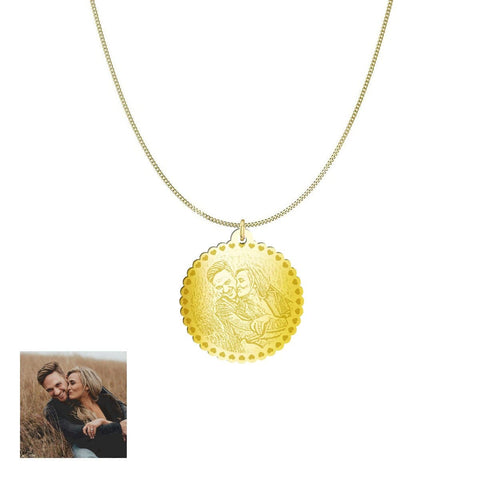 Image of Happy Couple Customized and Personalized Photo Necklace and Pendant pendant Gold Plated Sterling Silver 1in Yes