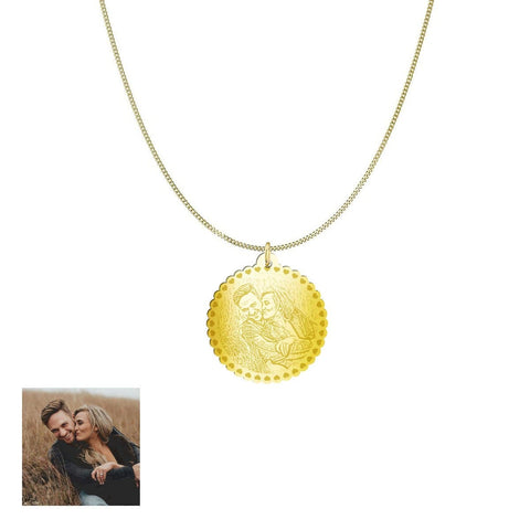 Image of Happy Couple Customized and Personalized Photo Necklace and Pendant pendant Gold Plated Sterling Silver Yes