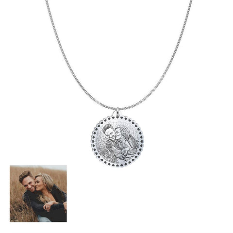 Image of Happy Couple Customized and Personalized Photo Necklace and Pendant pendant Silver Plated Yes