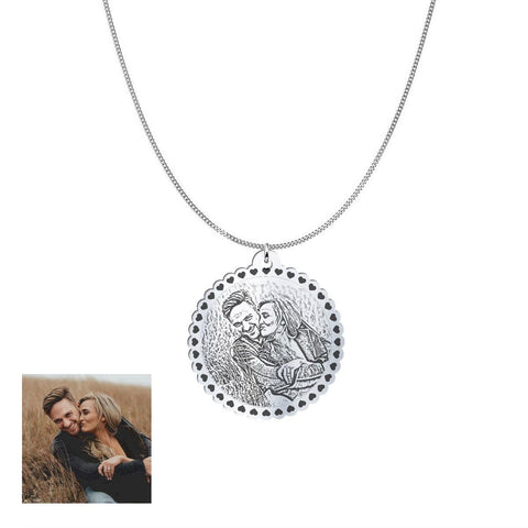 Image of Happy Couple Customized and Personalized Photo Necklace and Pendant pendant Sterling Silver 1.25in No