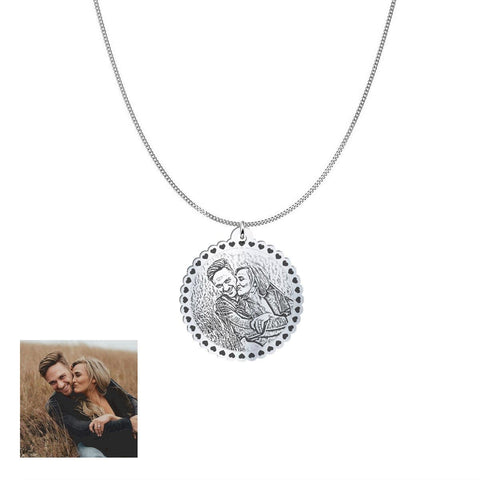 Image of Happy Couple Customized and Personalized Photo Necklace and Pendant pendant Sterling Silver 1in No