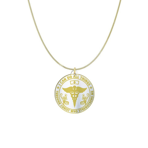 I am a Nurse Sterling Silver/Gold Necklace pendant Gold Plated Sterling Silver (1in) USA