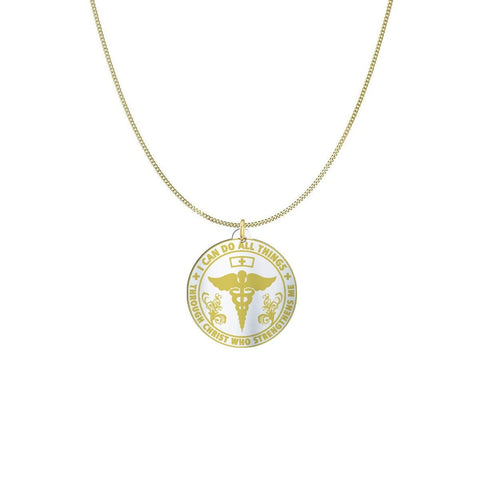 I am a Nurse Sterling Silver/Gold Necklace pendant Gold Plated Sterling Silver (3/4in) USA