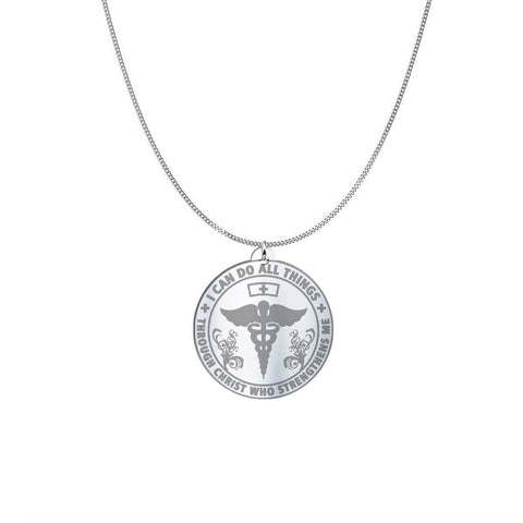 I am a Nurse Sterling Silver/Gold Necklace pendant Oxidized Sterling Silver (1in) USA