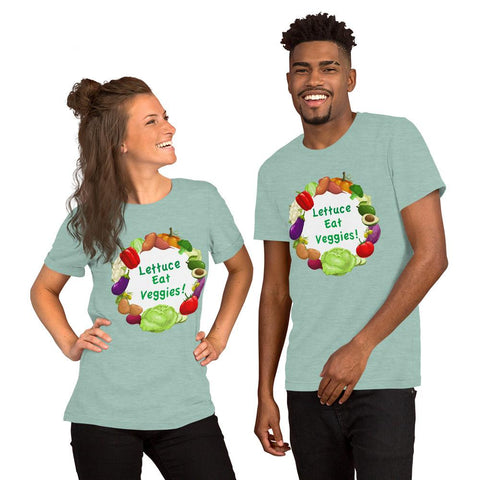 Lettuce Eat Veggies Unisex T-shirt (white background) t-shirt Heather Prism Dusty Blue XS