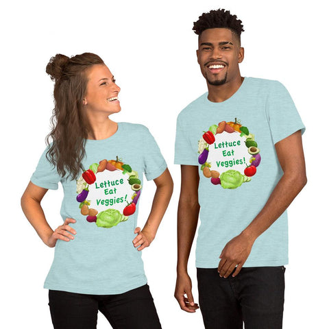 Lettuce Eat Veggies Unisex T-shirt (white background) t-shirt Heather Prism Ice Blue XS