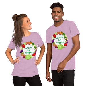 Lettuce Eat Veggies Unisex T-shirt (white background) t-shirt Heather Prism Lilac XS
