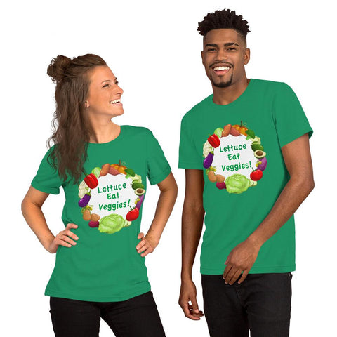 Lettuce Eat Veggies Unisex T-shirt (white background) t-shirt Kelly XS