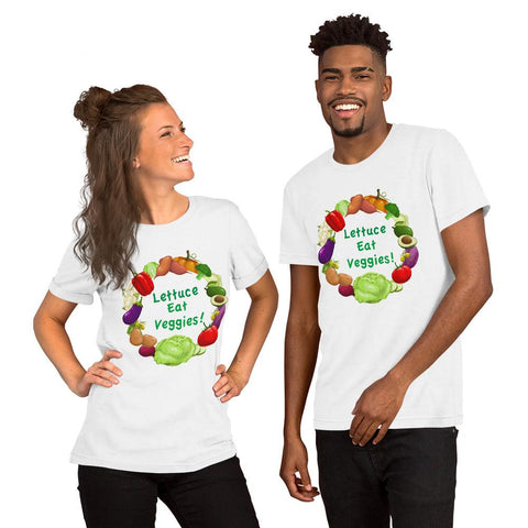 Lettuce Eat Veggies Unisex T-shirt (white background) t-shirt White XS