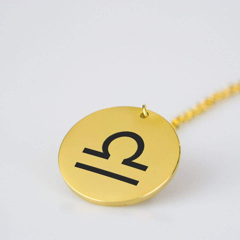 Libra Astrological Star Sign, Stainless Steel/Gold Pendant, Charm, and Necklace. pendant