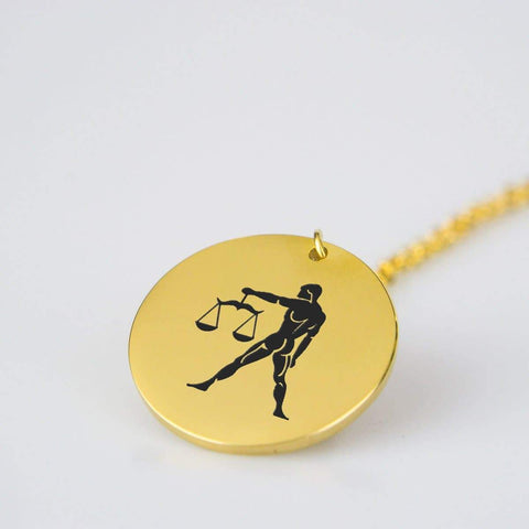 Image of Libra Horoscope, Star Sign, Stainless Steel/Gold Pendant pendant