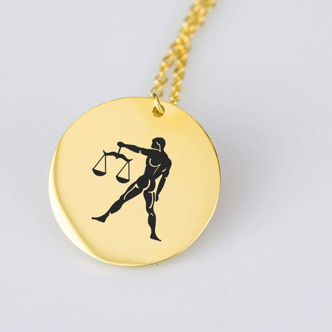 Libra Horoscope, Star Sign, Stainless Steel/Gold Pendant pendant Gold Plated Stainless Steel
