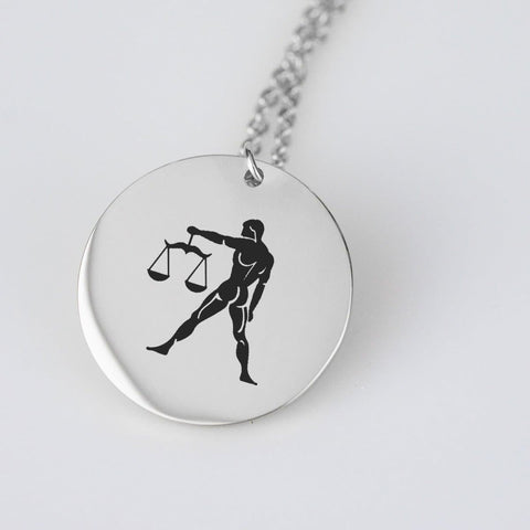 Image of Libra Horoscope, Star Sign, Stainless Steel/Gold Pendant pendant Stainless Steel