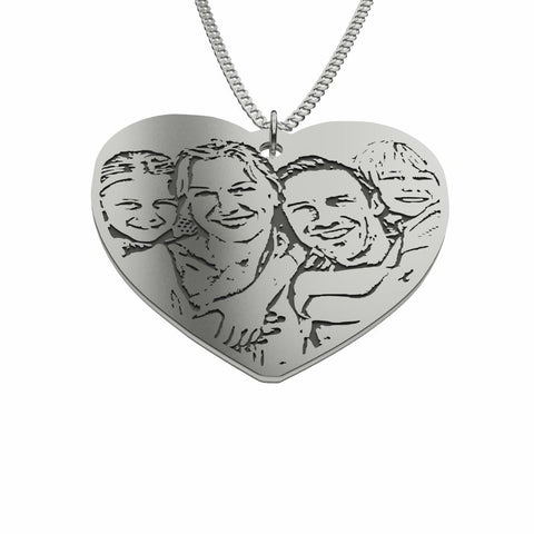 Image of Love Family Customized Heart Photo Engraved Necklace and Pendant pendant