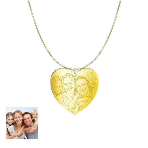 Love Family Customized Heart Photo Engraved Necklace and Pendant pendant Gold Plated Sterling Silver 1.25in Yes