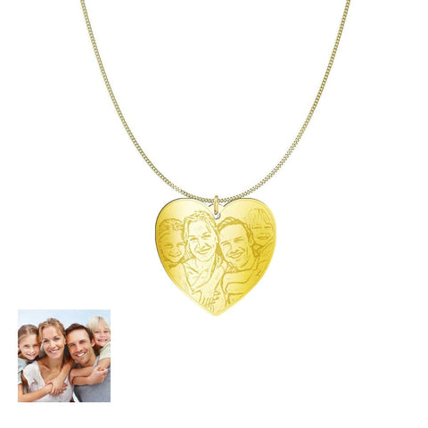 Love Family Customized Heart Photo Engraved Necklace and Pendant pendant Gold Plated Sterling Silver 1in Yes