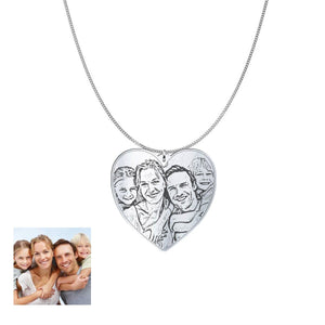 Love Family Customized Heart Photo Engraved Necklace and Pendant pendant Sterling Silver 1.25in No