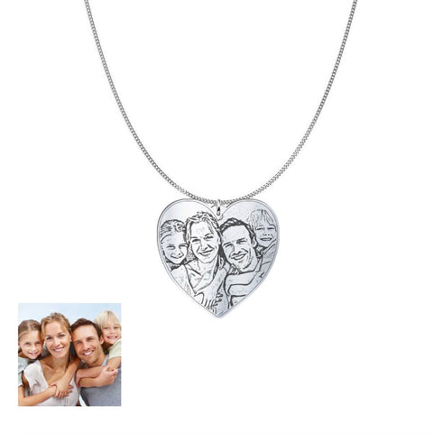 Image of Love Family Customized Heart Photo Engraved Necklace and Pendant pendant Sterling Silver 1in No