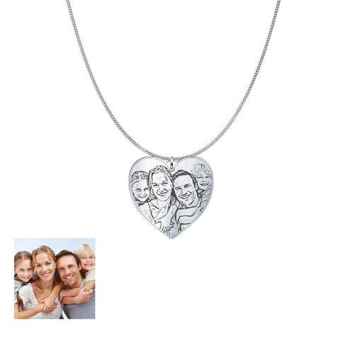 Image of Love Family Customized Heart Photo Engraved Necklace and Pendant pendant Sterling Silver No