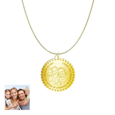 Image of Love Family Customized Round Photo Engraved Necklace and Pendant pendant Gold Plated Sterling Silver 1.25in Yes