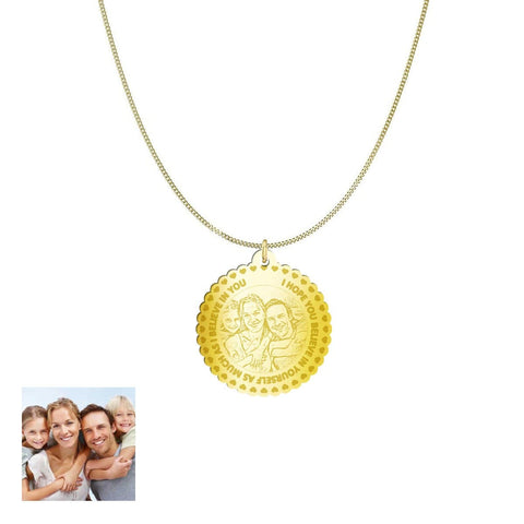 Love Family Customized Round Photo Engraved Necklace and Pendant pendant Gold Plated Sterling Silver 1in No