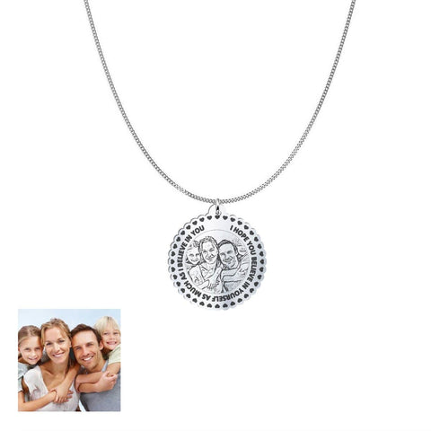 Love Family Customized Round Photo Engraved Necklace and Pendant pendant Silver Plated No
