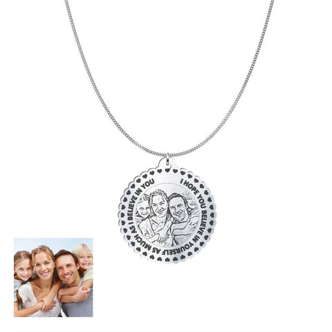 Love Family Customized Round Photo Engraved Necklace and Pendant pendant Sterling Silver 1.25in No
