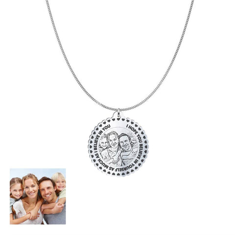 Love Family Customized Round Photo Engraved Necklace and Pendant pendant Sterling Silver 1in No